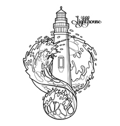 Graphic lighthouse during a storm vector