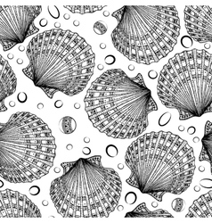 Seamless pattern of decorative seashells vector