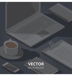background with isometric stationery objects vector image