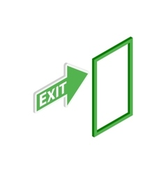 Green exit sign icon isometric 3d style vector image