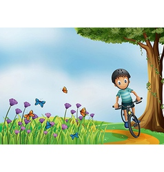 A biker biking at the hilltop with a garden vector image vector image