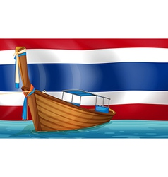 A boat in front of the Thai flag vector image vector image