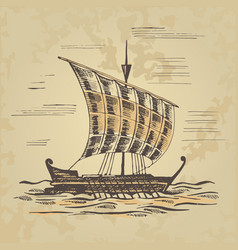 Ancient sailing ship at the oars vector
