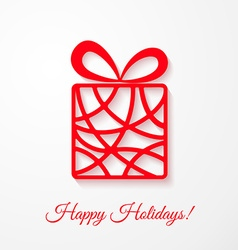 Applique card with red gift box vector