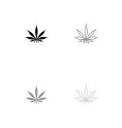 cannabis marijuana leaf black and grey set icon vector image