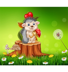 Cartoon funny hedgehog sitting on tree stump vector