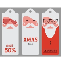 Christmas hipster santa sale tags vector image