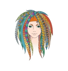 Colorful young girl with patterned zentangle vector