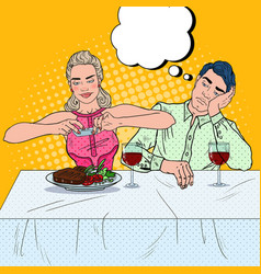 couple having dinner in restaurant pop art vector image vector image