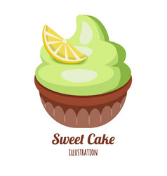 cupcake with whipped cream vector image