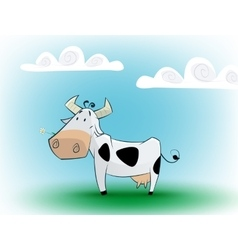 Cute black and white cow eating daisy vector