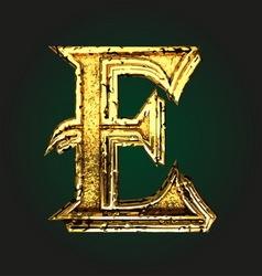 e golden letter vector image vector image