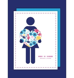 Fairytale flowers woman in love silhouette vector