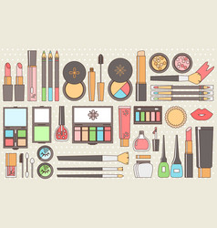 flat cosmetics set beauty fashion products vector image vector image