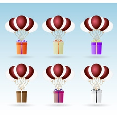 Gift package soaring with helium balloons icons vector