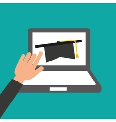 Hands holds laptop-online education graduation vector