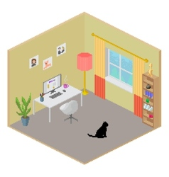Isometric room interior vector image