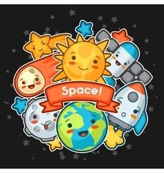 Kawaii space card doodles with pretty facial vector
