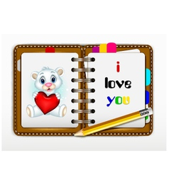 notepad for you design with i love you words for y vector image vector image
