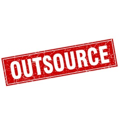 Outsource red square grunge stamp on white vector