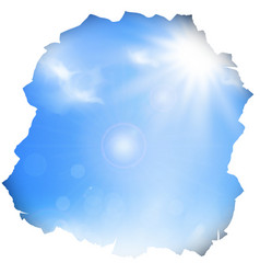 Paper hole with blue sky and sun vector