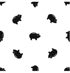 Piggy pattern seamless black vector