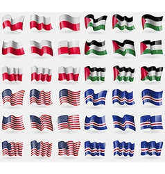 Poland palestine usa cape verde set of 36 flags of vector