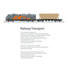 poster locomotive with hopper car vector image