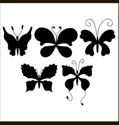 set of silhouettes of cute cartoon butterfly vector image vector image
