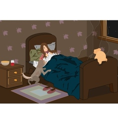 sick sleeping girl vector image vector image