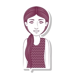 Silhouette teenager with ponytail hair vector