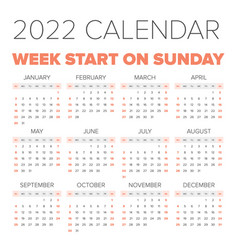 simple 2022 year calendar vector image vector image