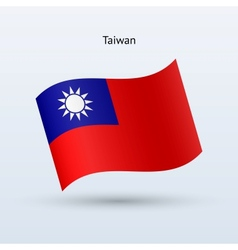 Taiwan flag waving form vector image