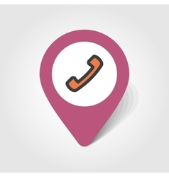 Telephone Handset map pin icon vector image