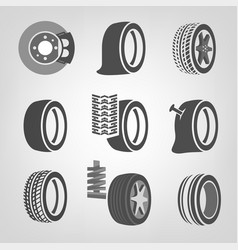 tire shop icons vector image vector image