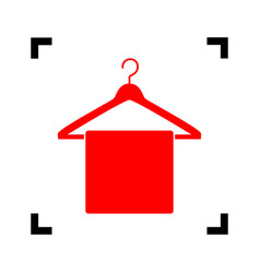 towel on hanger sign red icon inside vector image