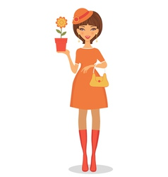 Beautiful woman with flower vector