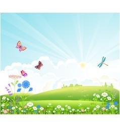 Beautiful summer landscape with flowers butterfli vector