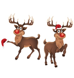 Rudolph the reindeer with christmas hat vector
