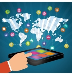 hand touch smartphone world communication vector image