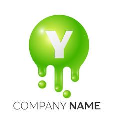 y letter splash green dots and bubbles letter vector image