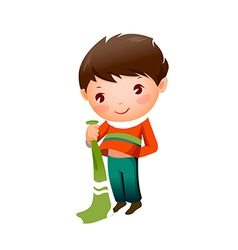 Close-up of boy holding socks vector