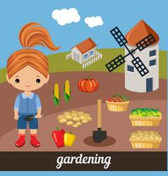 Sweet girl agronomist vector