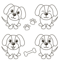 Set of cute dogs isolated on white vector