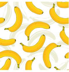 Seamless pattern with yellow bananas banana fruit vector