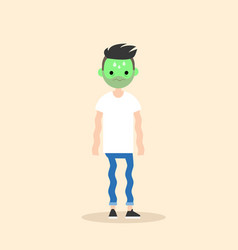 Sick shivering young man with green face cartoon vector