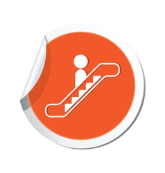 Escalator icon orange sticker vector