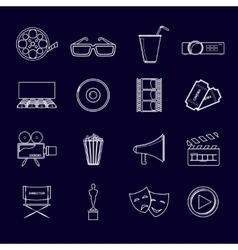 Cinema icons set outline vector image