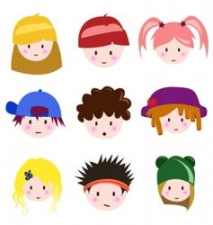 cartoon children faces vector image