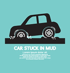 Car stuck in mud vector